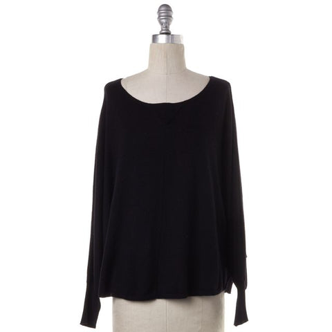 JOIE Black Wide Neck Loose Fit Long Sleeve Knit Top Size S