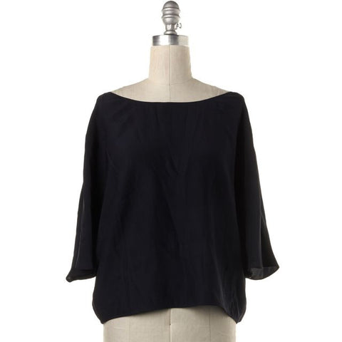 VINCE Navy Blue Silk Oversized Short Sleeve Blouse Top Size S