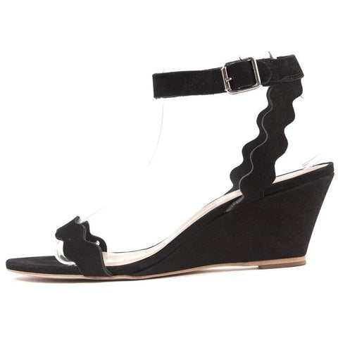 LOEFFLER RANDALL Black Nubuck Leather Open Toe Ankle Strap Wedge Sandals Size 7