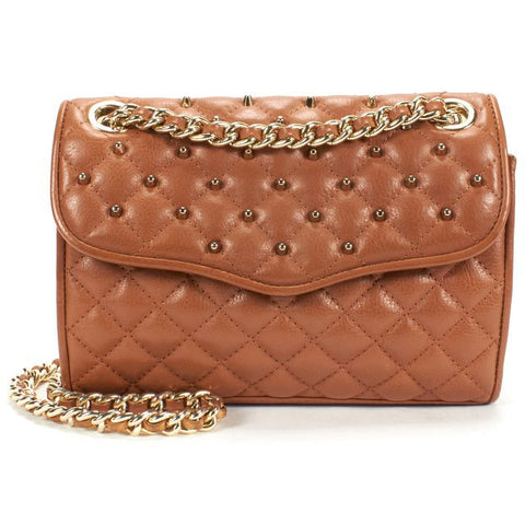 REBECCA MINKOFF Authentic Brown Quilted Studded Leather Chain Strap Shoulder Bag