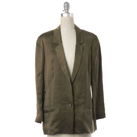 DIANE VON FURSTENBERG Olive Green Satin Single Button Blazer Size 8