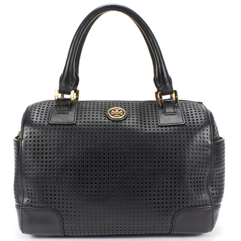 TORY BURCH Authentic Black Perforated Saffiano Leather Top Handle Bag