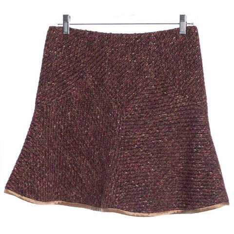 REBECCA TAYLOR Purple Pink Tweed A-Line Skirt Size 2