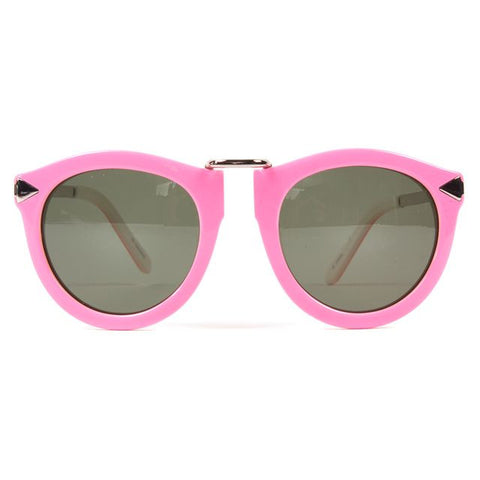 KAREN WALKER Pink Green Acetate Frame Cat Eye Sunglasses