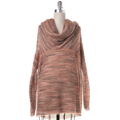 MISSONI Beige Multi Color Striped Oversize Cowl Neck Sweater Size 2 IT 38
