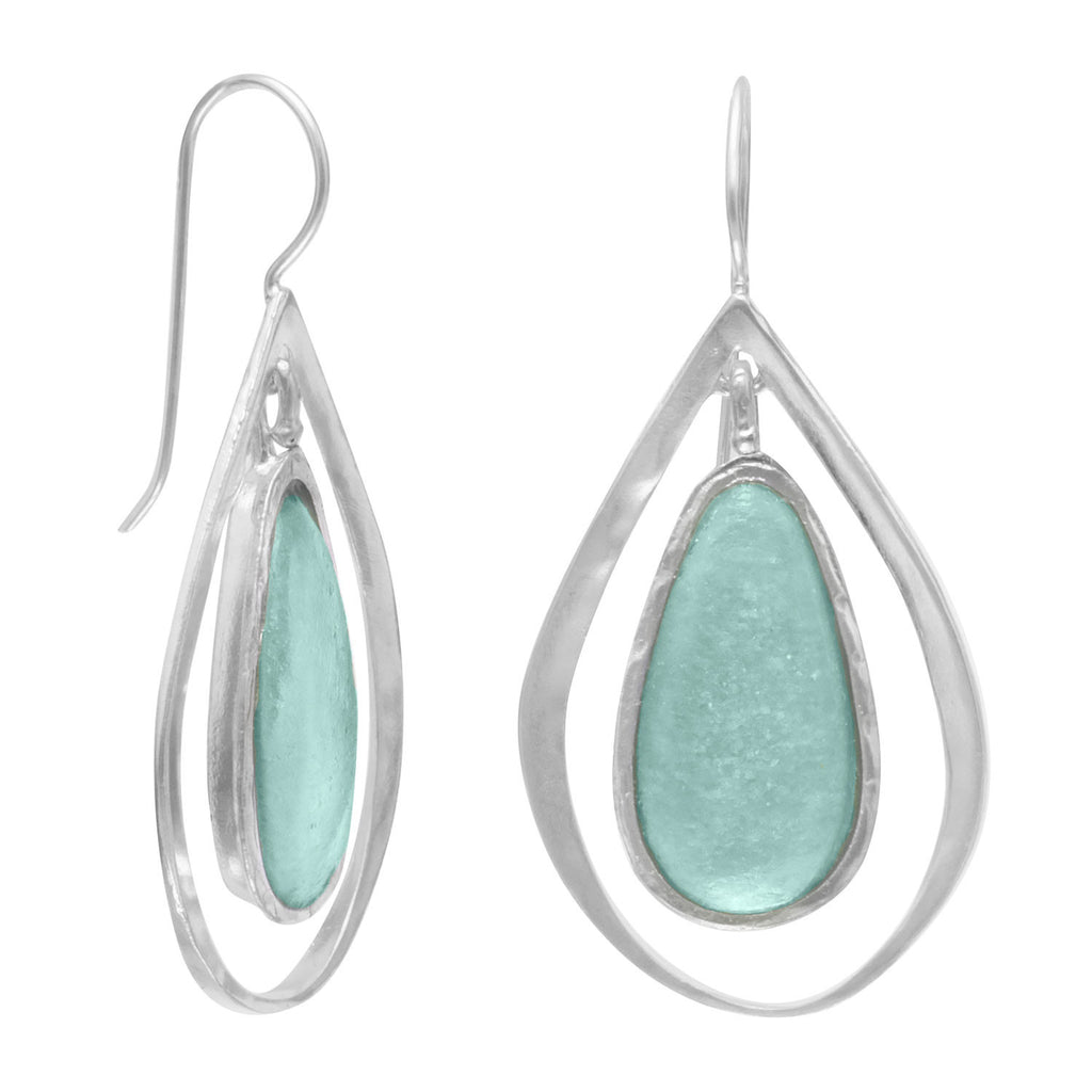 Ancient Israel Roman Glass & Sterling Silver Earrings w Pear Drop Design