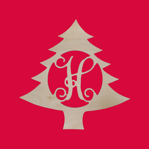 "18"" Wooden Initial Monogram Christmas Tree"