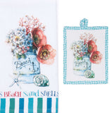 Beach House Coastal Floral Arrangement Tea Towel or Pot Holder Brookshire Boutique www.brookshireboutique.com Kay Dee