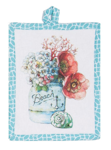 Beach House Coastal Floral Arrangement Tea Towel or Pot Holder