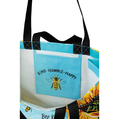 Bee Kind, Humble, Happy Sunflower Market Tote or Zippered Wallet