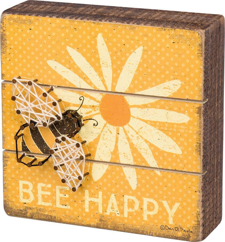 Bee Happy Wooden Box Sign