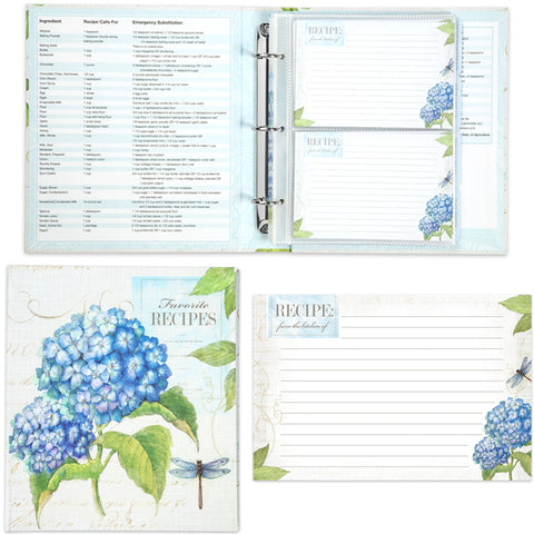 Blue Hydrangea Recipe Binder, Recipe Cards & Insert Pages
