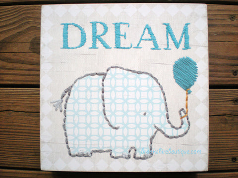 Dream Box Sign by Primitives by Kathy with Blue Elephant