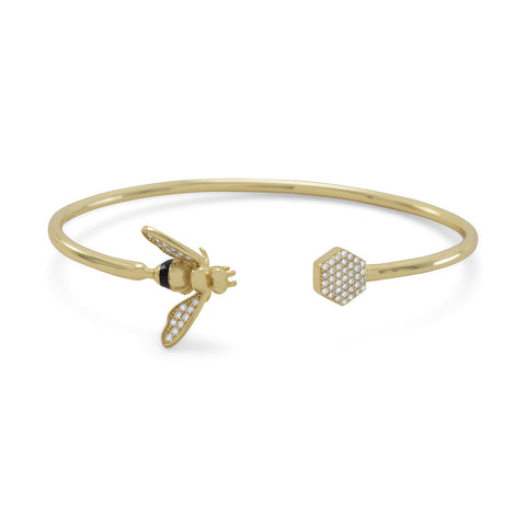 14K Gold Plated Sterling Silver Honey Comb & Bee Flexible Cuff Bracelet