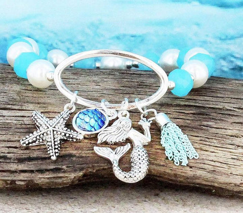 Beaded Mermaid Charm Bracelet