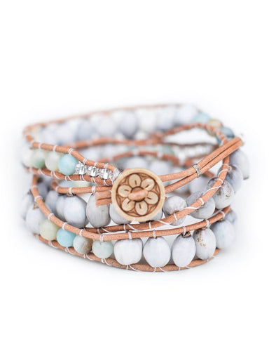 Tianna Bracelet: Majok Seeds, Leather & Amazonite