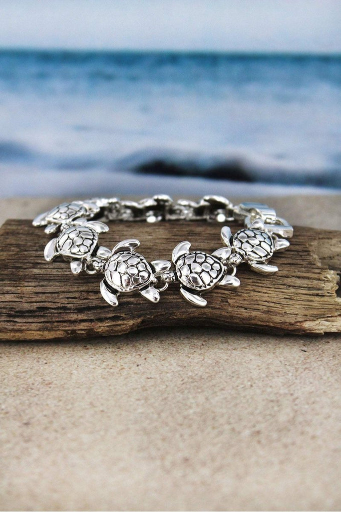 Silvertone Sea Turtle Bracelet Brookshire Boutique www.brookshireboutique.com