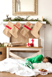 Personalized Country Cabin Burlap Christmas Stockings viv & Lou Brookshire Boutique www.brookshireboutique.com