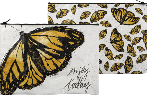 "14"" Monarch Butterfly Zippered Pouch Clutch"