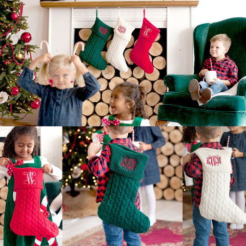 Personalized Cable Knit Christmas Stockings