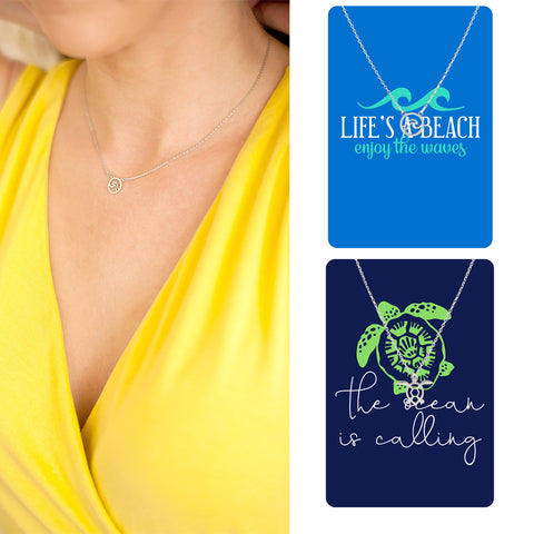 Dainty Sea Turtle or Wave Necklace & Bookmark Gift Set