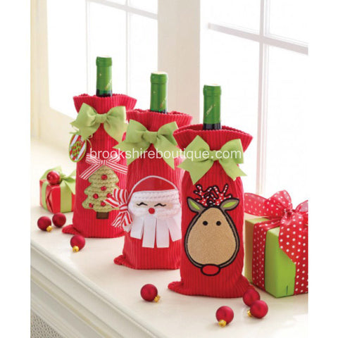 Corduroy Wine Bottle Gift Bag by Mud Pie: Reindeer, Tree or Santa