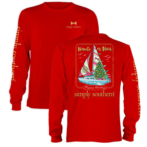 Simply Southern Sailboat & Christmas Tree Long Sleeve Tee Shirt