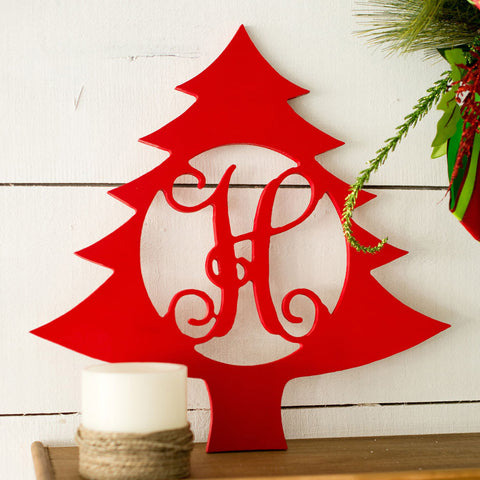 "Unpainted 18"" Wooden Initial Monogram Christmas Tree for Wall, Door, Mantel or Cabin"