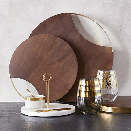 "12"" or 16"" Mango Wood & Brass Circle Board Santa Barbara Tablesugar Brookshire Boutique www.brookshireboutique.com"