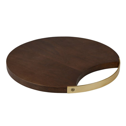 "12"" or 16"" Mango Wood & Brass Circle Board"