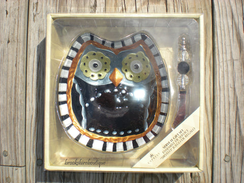 Halloween Owl Serving Bowl with Spreader Gift Set