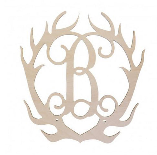 "18"" Unfinished Birch Wood DIY Deer Antlers with Personalized Initial Brookshire Boutique www.brookshireboutique.com Viv & Lou"