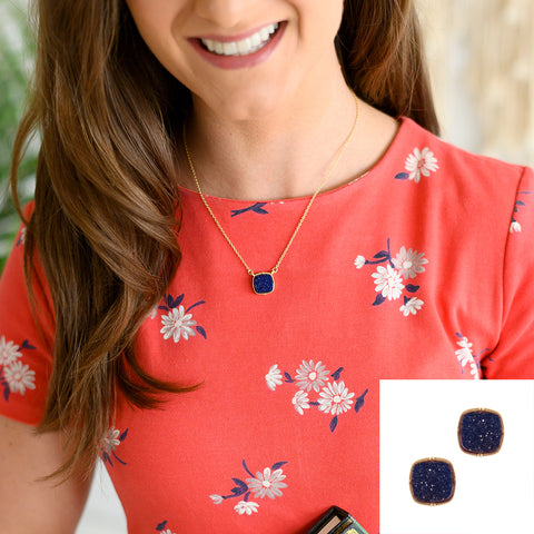 Navy Square Druzy Necklace or Earrings