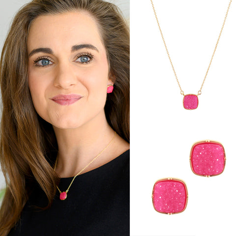 Pink Square Druzy Necklace or Earrings