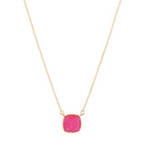 Pink Square Druzy Necklace or Earrings Viv & Lou Brookshire Boutique www.brookshireboutique.com