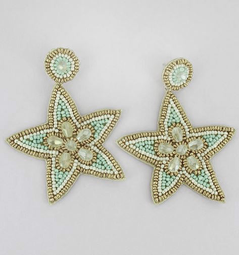 "3"" Starfish Seed Bead Earrings Brookshire Boutique www.brookshireboutique.com"