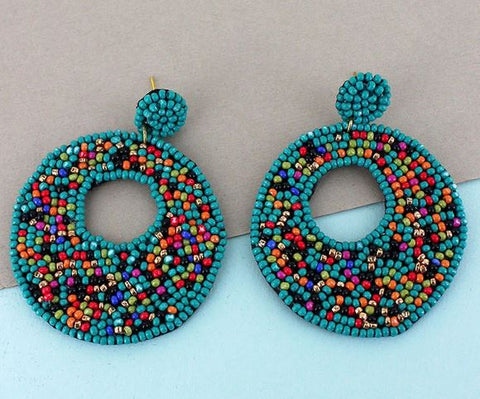 Turquoise and Multi-Colored Seed Bead Circle Earrings