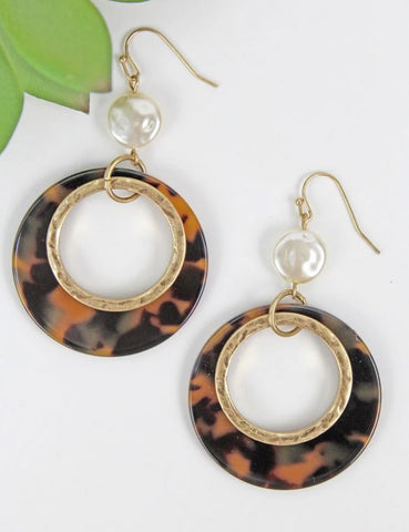 Turtoise Shell Circle Earrings