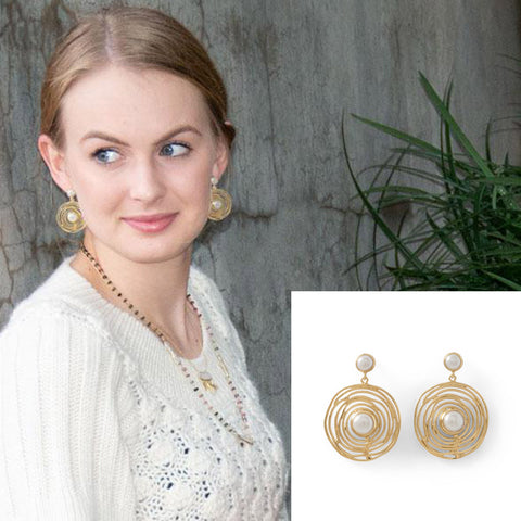 14KGP Brass & Pearl Spiral Earrings