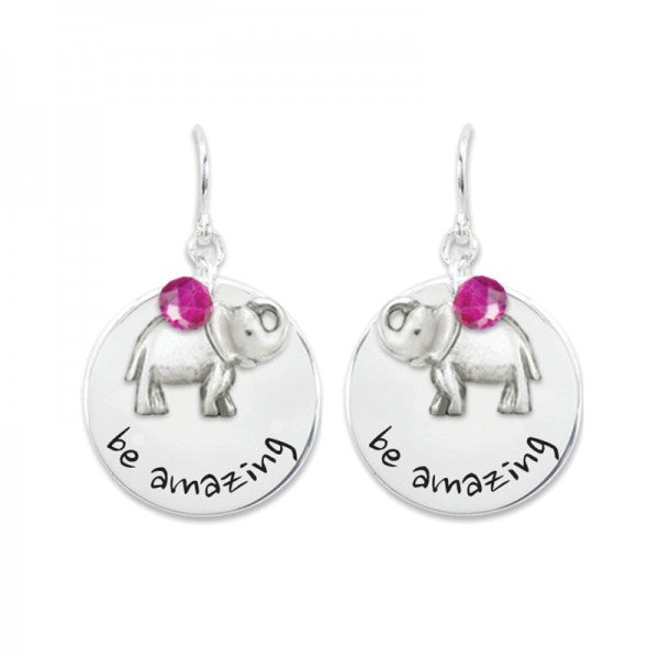 Be Amazing Earrings with Elephant Charm Periwinkle's Say It Collection www.brookshireboutique.com Brookshire Boutique