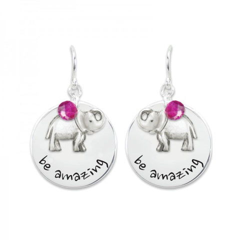 """Say It"" Collection: Be Amazing Earrings with Elephant Charm"