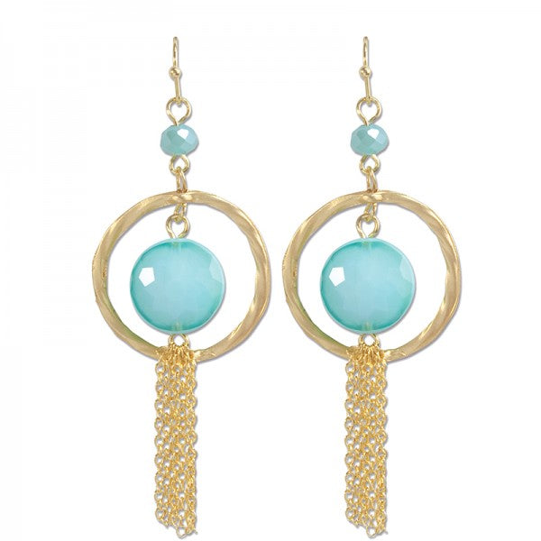 Periwinkle's swingy fringe aqua acrylic crystal necklace or earrings. Brookshire Boutique www.brookshireboutique.com