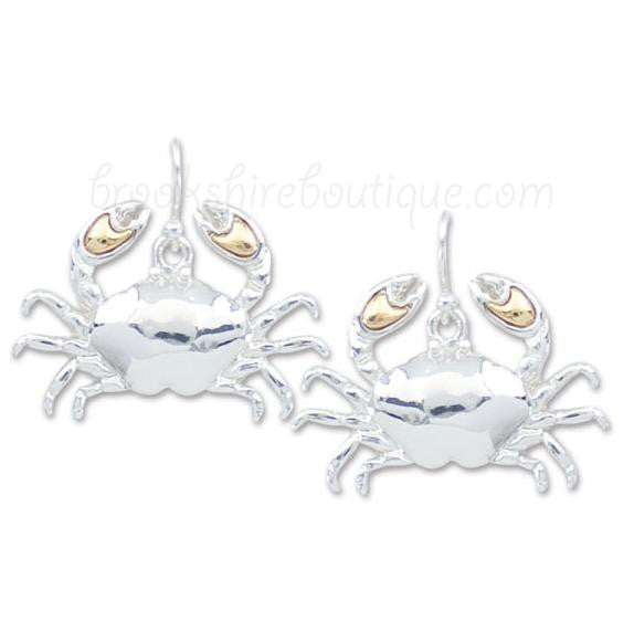 Two Tone Blue Crab Earrings