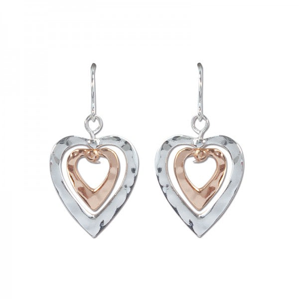 Hammered Silver & Gold Tone Heart Earrings www.brookshireboutique.com Brookshire Boutique