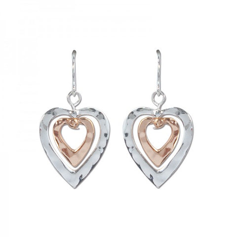 Hammered Silver & Gold Tone Heart Earrings