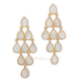 14K Gold Plated Sterling Silver Rainbow Moonstone Chandelier Earrings