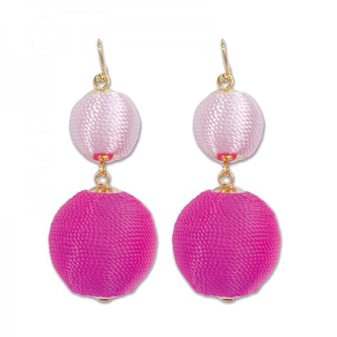 Periwinkle Raspberry Pink Beehive Ball Earrings