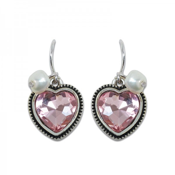 Pink Acrylic Crystal Heart Earrings w Faux Pearls
