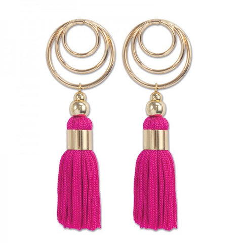 Periwinkle Pink Tassel Earrings w Gold Tone Circles