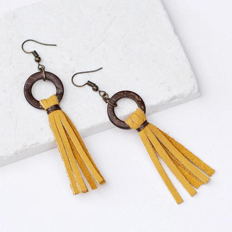 Rebecca Leather Tassel Earrings